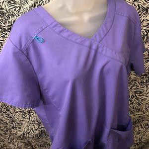 Woman's XL Purple/Teal Scrub Set - Wicked Soft
